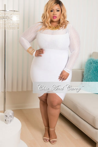 Final Sale Plus Size BodyCon Dress with Mesh Neck Line and Sleeves in White