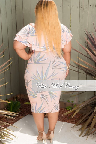 New Plus Size Off The Shoulder BodyCon Dress in Pink, Light Blue & Yellow