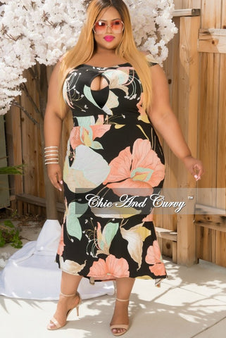 50% Off Sale - Final Sale Plus Size Off The Shoulder High Low Dress  in Black, Pink, Green & Brown with center Keyhole
