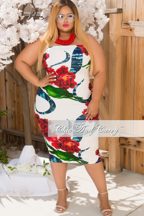 New Plus Size Strapless BodyCon Dress in Red, White & Green