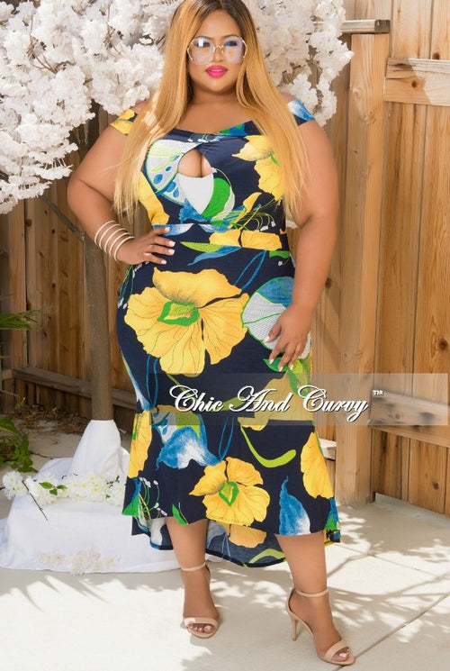 Final Sale Plus Size Off The Shoulder High Low Dress  in Navy Blue, Yellow & Green with Keyhole
