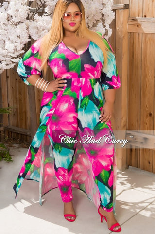 New Plus Size Jumpsuit with Attached Long Skirt in Pink, Light Blue & Navy