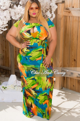 New Plus Size Off The Shoulder Gown in Green, Blue & Orange with center Keyhole