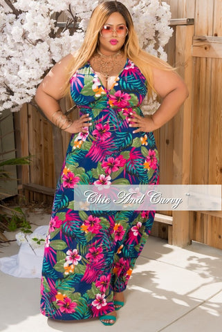 New Plus Size Sleeveless Deep V Neck Gown in Navy Blue, Magenta & Orange
