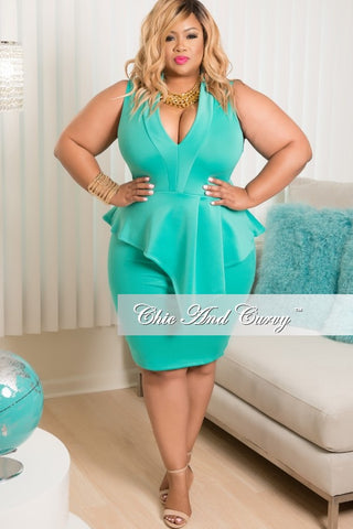 New Plus Size Sleeveless Dress with Peplum Skirt in Mint