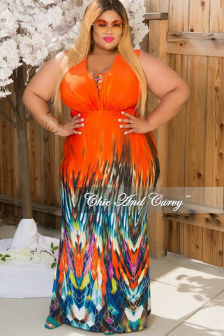 50% Off Sale - Final Sale Plus Size Sleeveless Deep V Neck Gown in Orange, Black & Blue