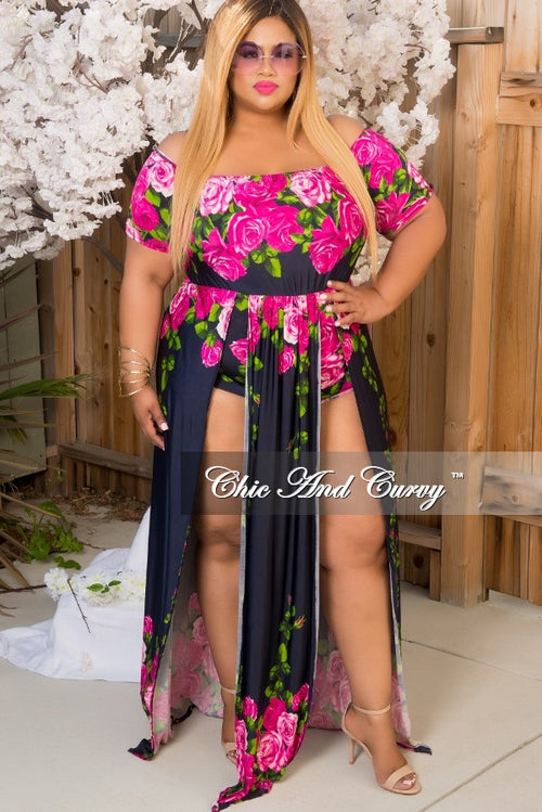 Final Sale Plus Size Off The Shoulder Jumpsuit with Brief Shorts,Skirt & Front Panel in Navy Blue, Magenta & Green