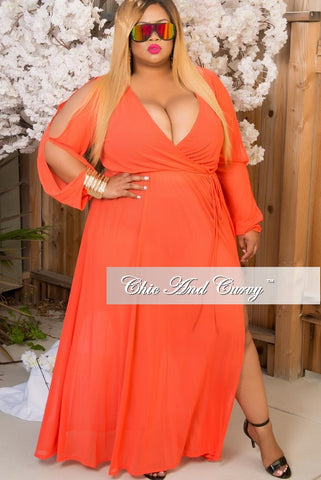 New Plus Size Mesh Gown with Faux Wrap &  Peek-A-Boo Sleeves & Side Split in Orange