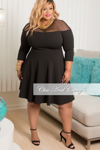 50% Off Sale - Final Sale Plus Size Long Sleeve Dress with Mesh Neckline in Black