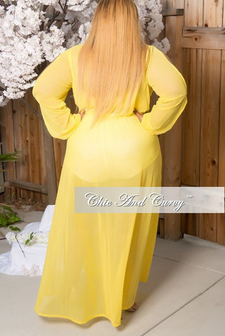 New Plus Size Mesh Gown with Faux Wrap &  Peek-A-Boo Sleeves & Side Split in Yellow