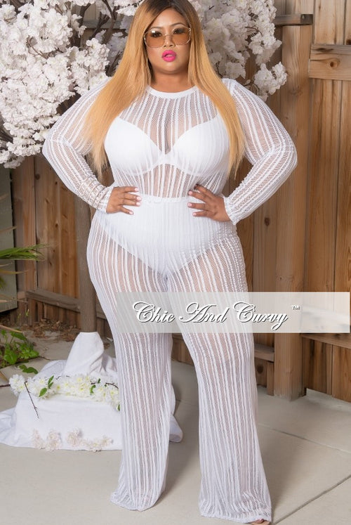 Final Sale Plus Size Mesh Jumpsuit in White