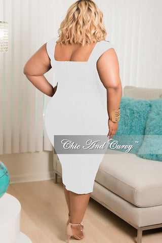 Final Sale Plus Size Sleeveless Dress with Front Lace Up Tie in White