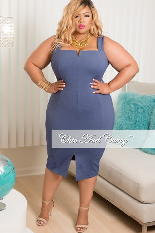 New Plus Size Sleeveless Dress with Front Split in Blue Faux Denim
