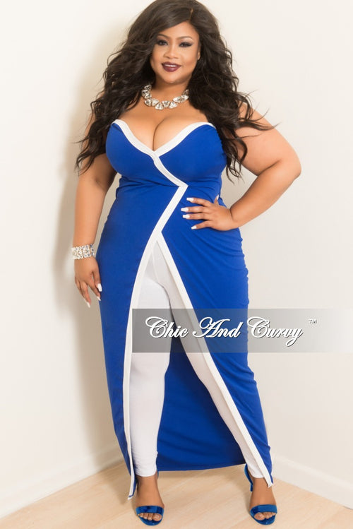 Final Sale Plus Size Strapless Faux Wrap Long Dress Top in Royal Blue with White Trim