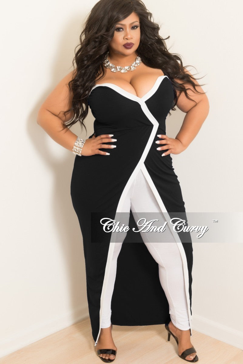 Final Sale Plus Size Strapless Faux Wrap Long Dress Top in Black with White Trim
