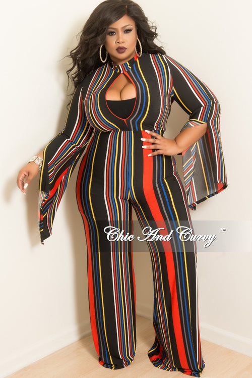 Final Sale Plus Size Long Sleeve Jumpsuit with Front Cutout and Slit Sleeves in Red Black Yellow Royal Blue and White