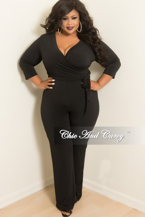 New Plus Size Faux Wrap Jumpsuit with Attached Belt in Black