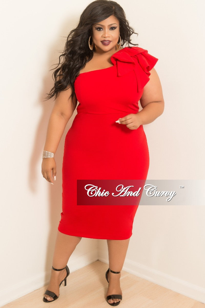 Final Sale Plus Size One Sided BodyCon Dress with Ruffle Sleeve in Red