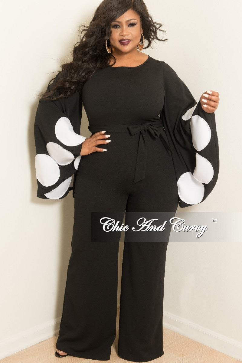 Final Sale Plus Size Polka Dot Bell Sleeves Jumpsuit with Attached Tie in Black