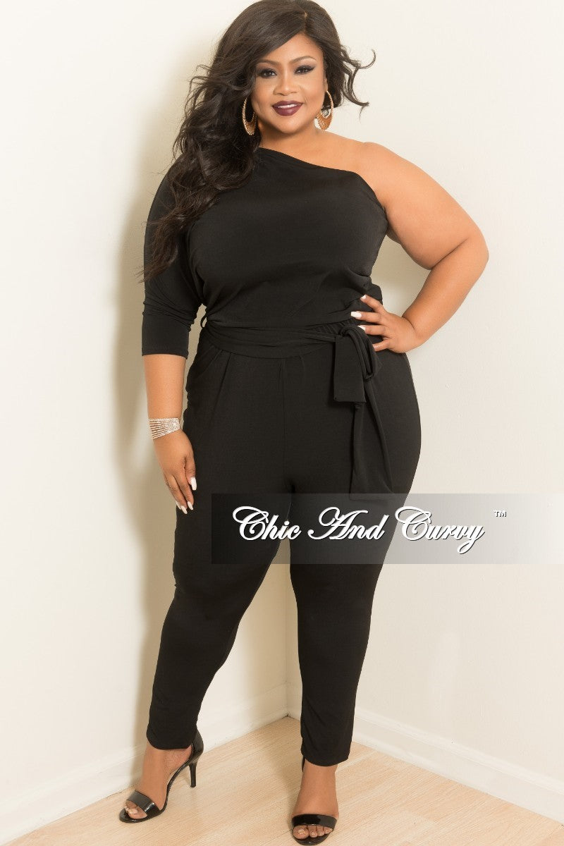 New Plus Size One Sided Jumpsuit with 3/4 Sleeves and Attached Tie in Black