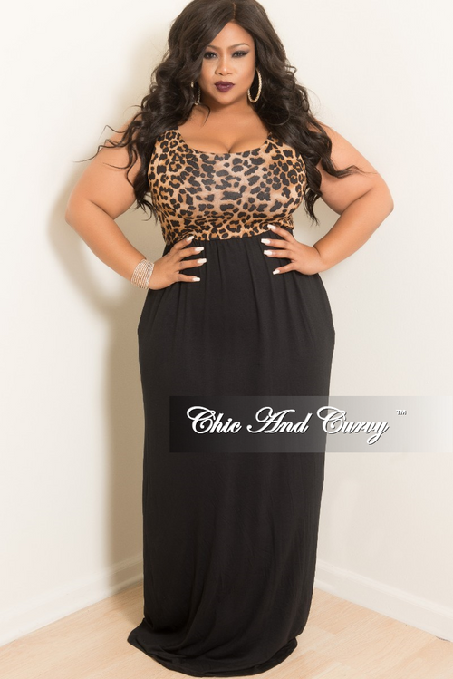 New Plus Size Cheetah Print Sleeveless Long Dress in Brown and Black