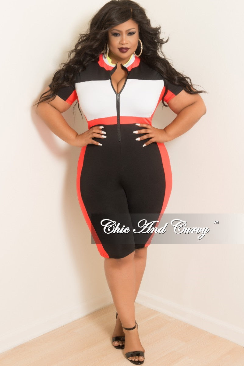Final Sale Plus Size Sporty Zip Up Knee Length Romper Jumpsuit In