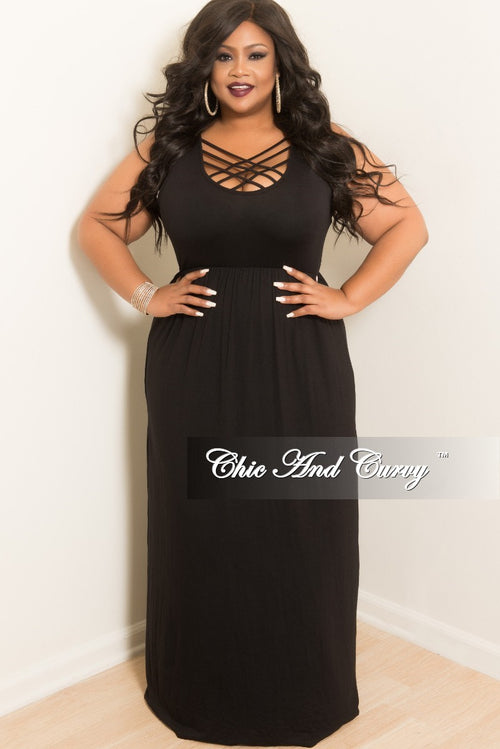 Final Sale Plus Size Sleeveless Long Dress with Front Crisscross in Black