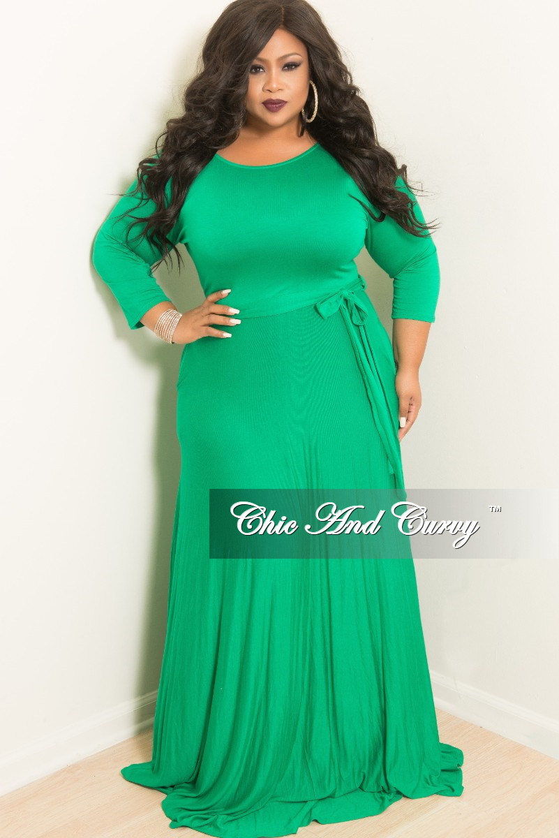 Final Sale Plus Size Long Dress with 3/4 Sleeve and Tie in Kelly ...