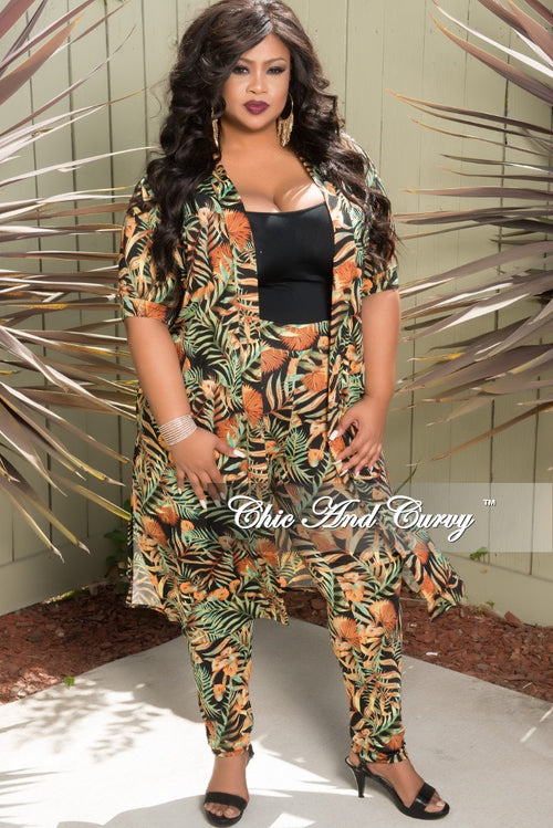 New Plus Size 2-Piece Duster and High Waist Pants Set in Green Multi Color Leaf Print