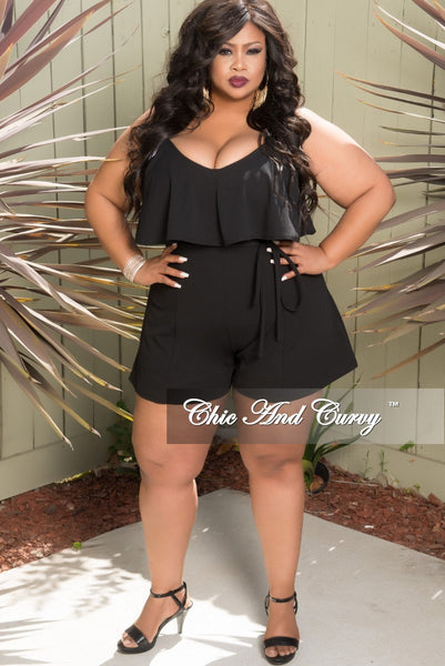 New Plus Size Spaghetti Strap Ruffle Romper with Attached Tie in Black