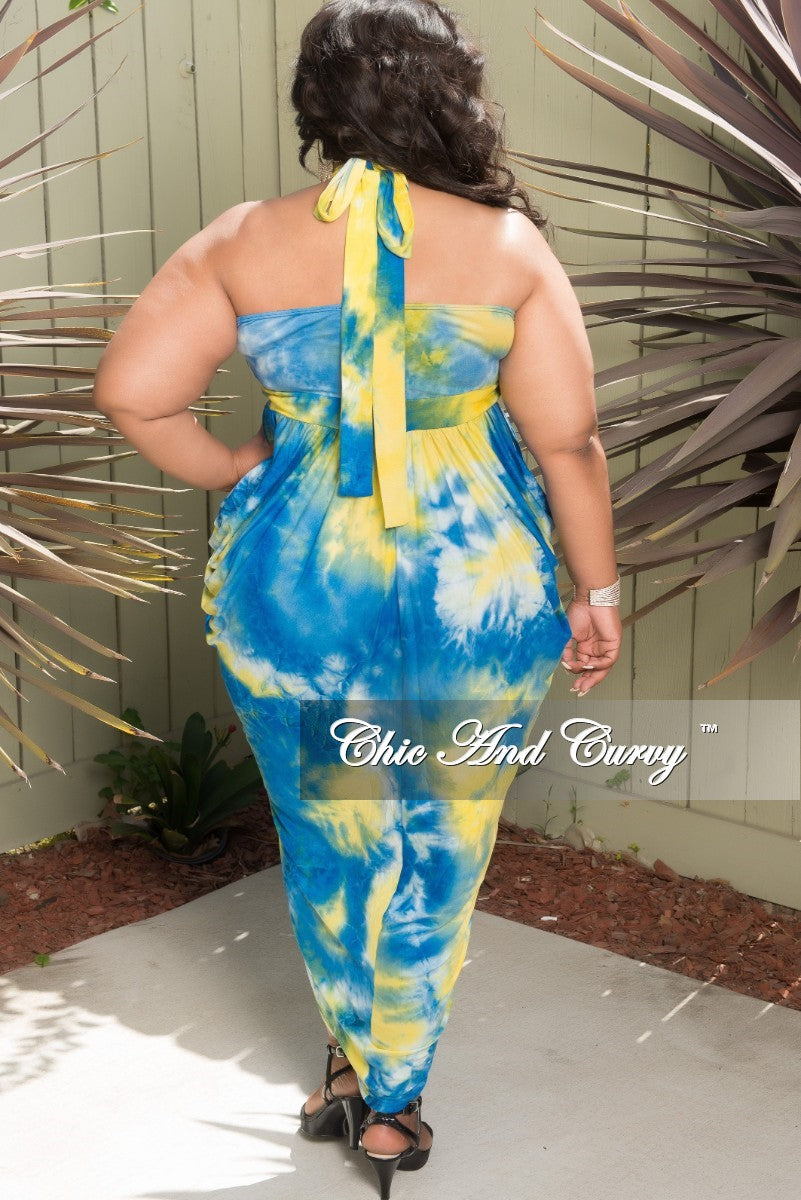 New Plus Size Halter Top Long Dress in Royal Blue and Yellow Tie Dye