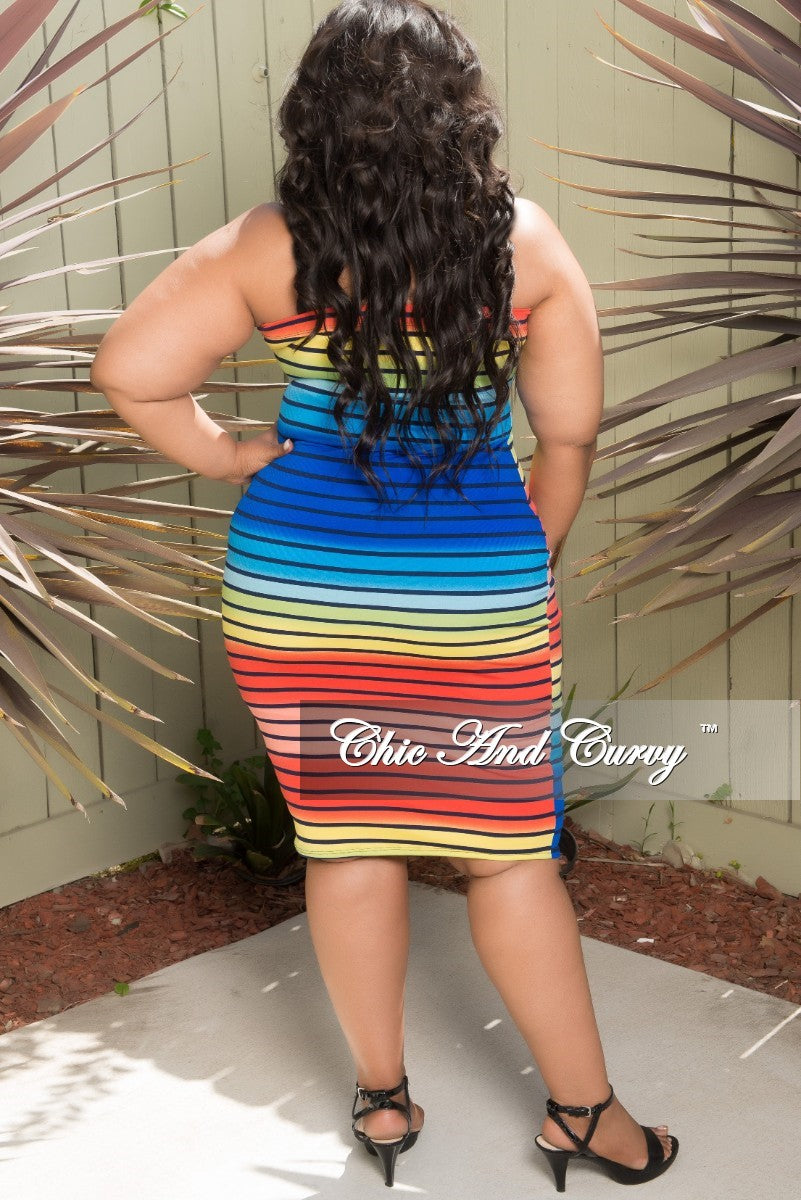 69137958eaf New Plus Size BodyCon Tube Dress in Striped Rainbow Print – Chic And ...