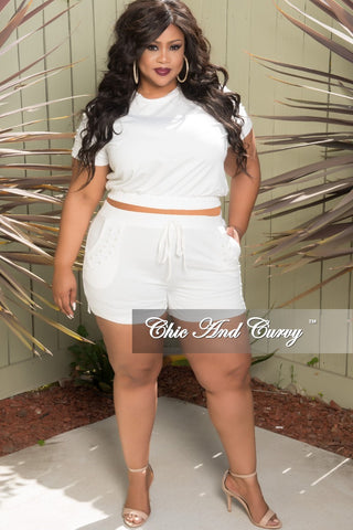 4857d4b3a5485 Final Sale Plus Size 2-Piece Beaded Top and Shorts set in White.   58.00. New  Plus Size 2-Piece Faux Wrap Sleeveless Deep V Top and Pants ...