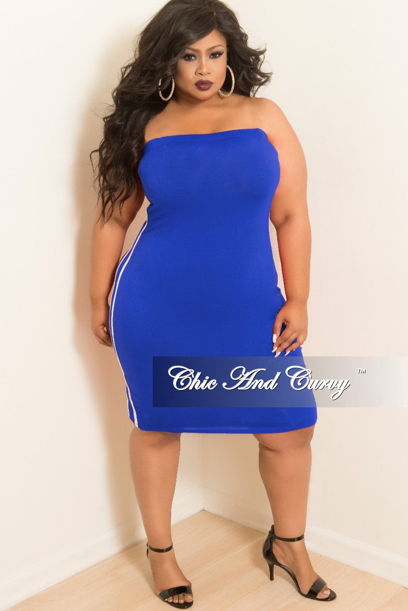 New Plus Size Tube Dress with White Trim in Royal Blue – Chic And Curvy