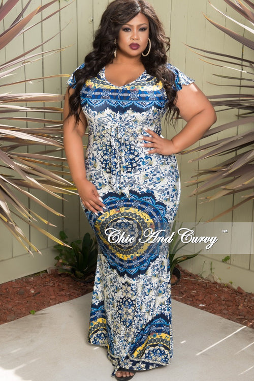 Final Sale Plus Size Short Sleeve Long Dress with Front Bow Tie in White Blue and Yellow Floral Print