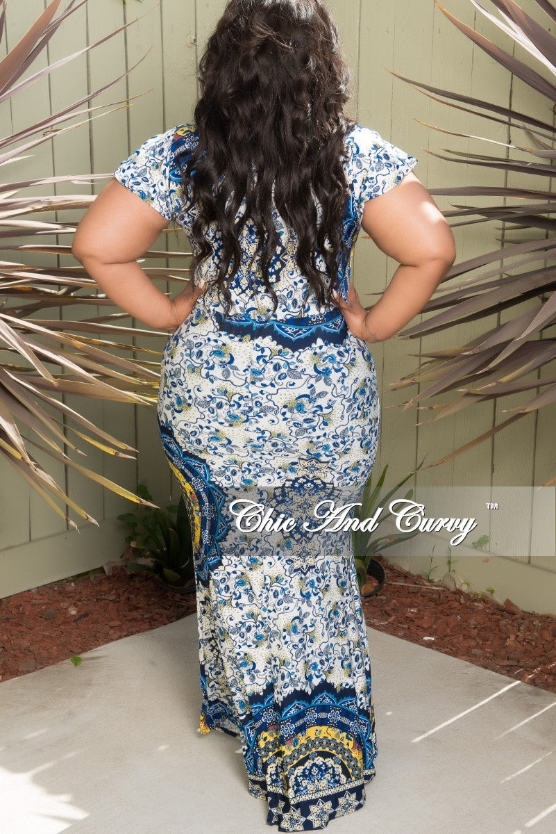 New Plus Size Short Sleeve Long Dress with Front Bow Tie in White Blue and Yellow Floral Print