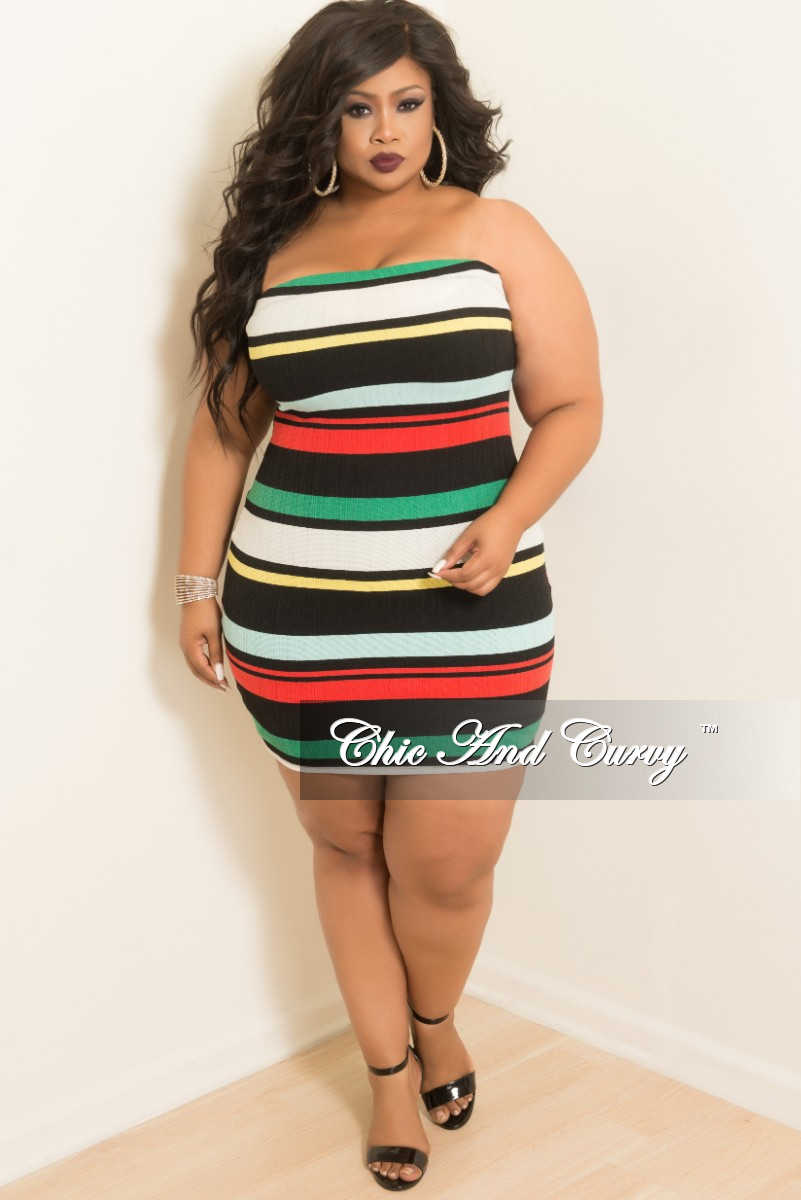 New Plus Size Stripe BodyCon Tube Dress/Skirt in Green Red Off White Black  and Yellow