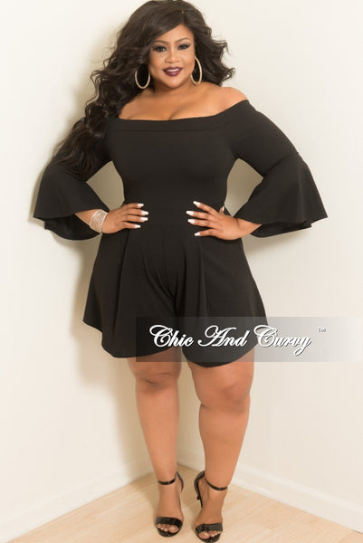 New Plus Size Off the Shoulder Bell Sleeve Romper in Black