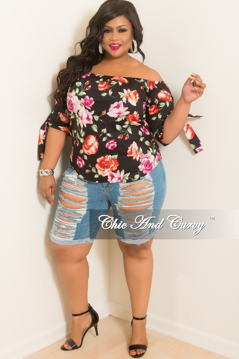New Plus Size Bermuda Distress Shorts in Light Denim