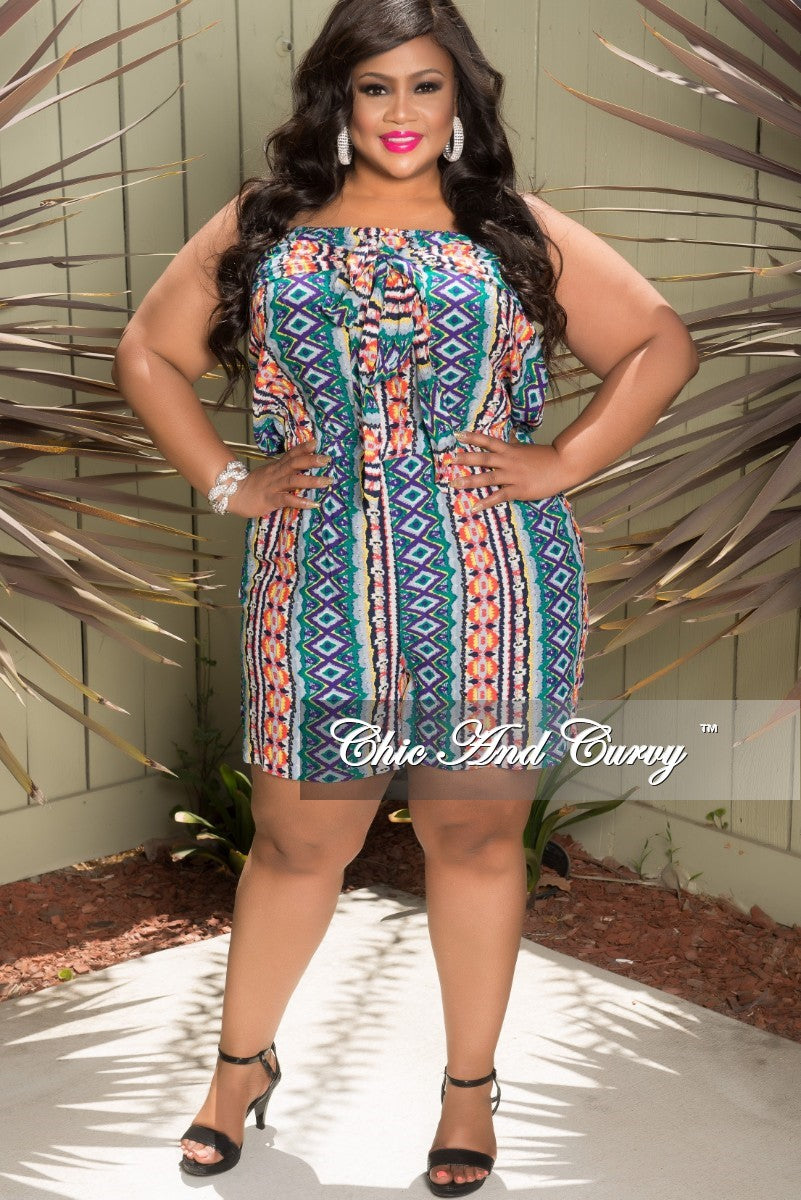 Final Sale Plus Size Tube Romper with Attached Tie in Purple, Grey, Green, Orange and Yellow (Seasonal Item)