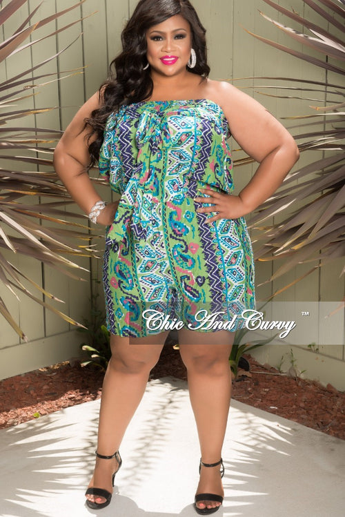 Final Sale Plus Size Tube Romper with Attached Tie in Green Multi Color (Seasonal Item)