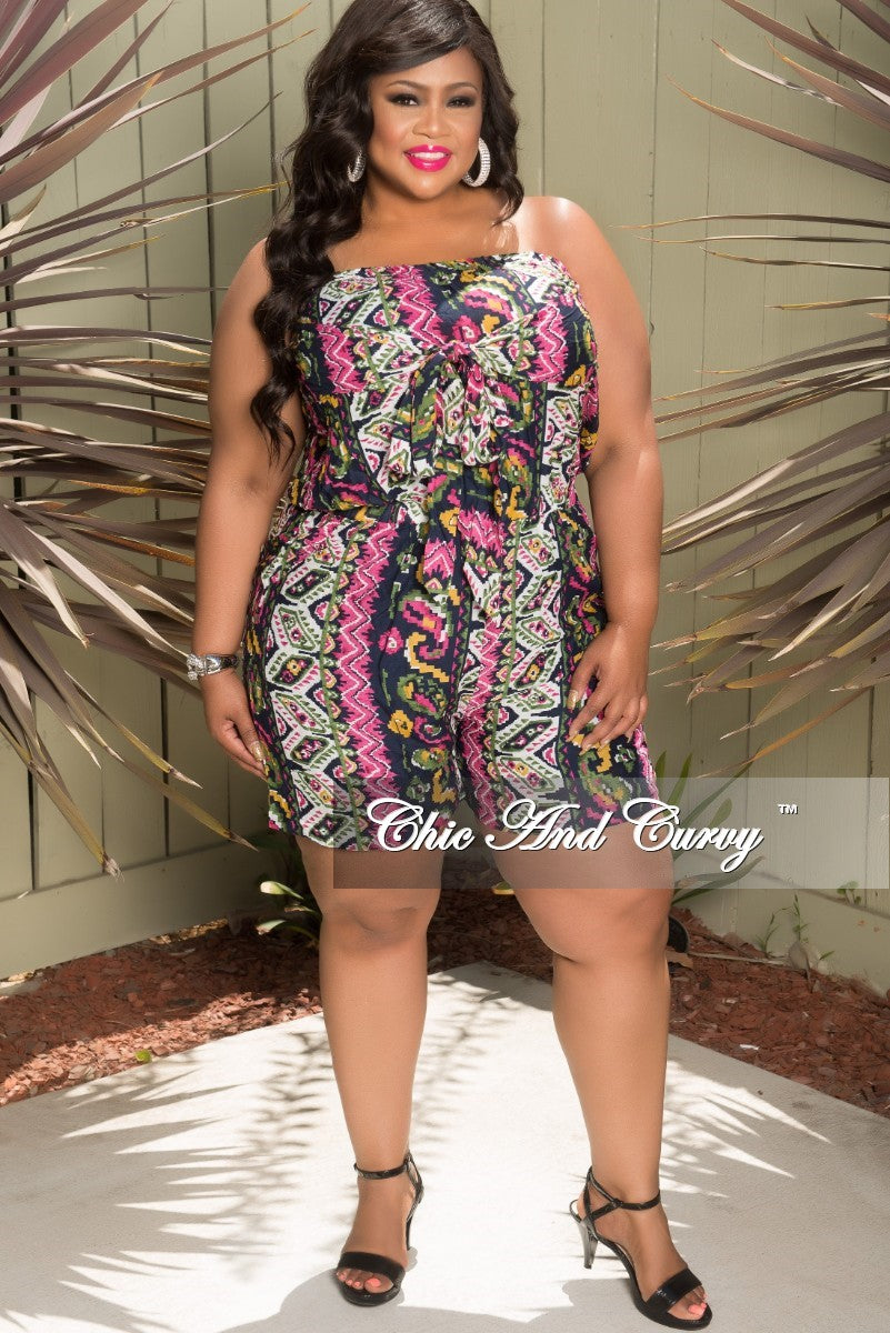 Final Sale Plus Size Tube Romper with Attached Tie in Navy, Pink, Black (Seasonal Item)