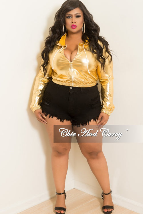 Final Sale Plus Size Hooded Zip Up Crop Top Jacket in Gold