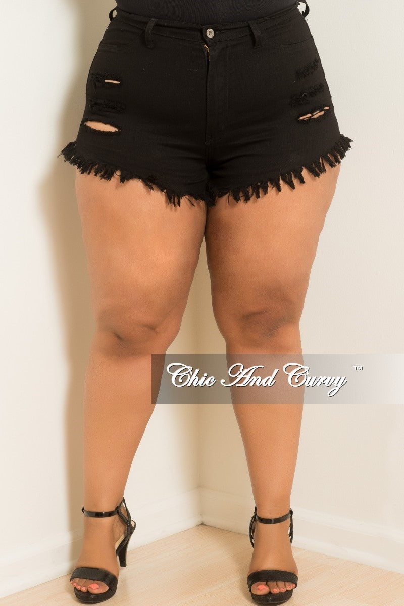 136cca296db Final Sale Plus Size Distressed Shorts in Black – Chic And Curvy
