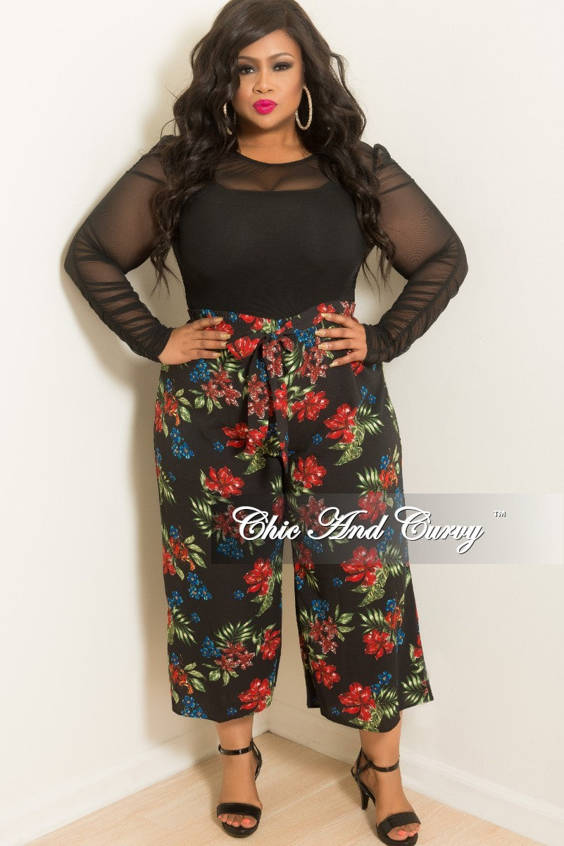 New Plus Size Loose Fitted Pants with Attached Tie in Black Floral Print