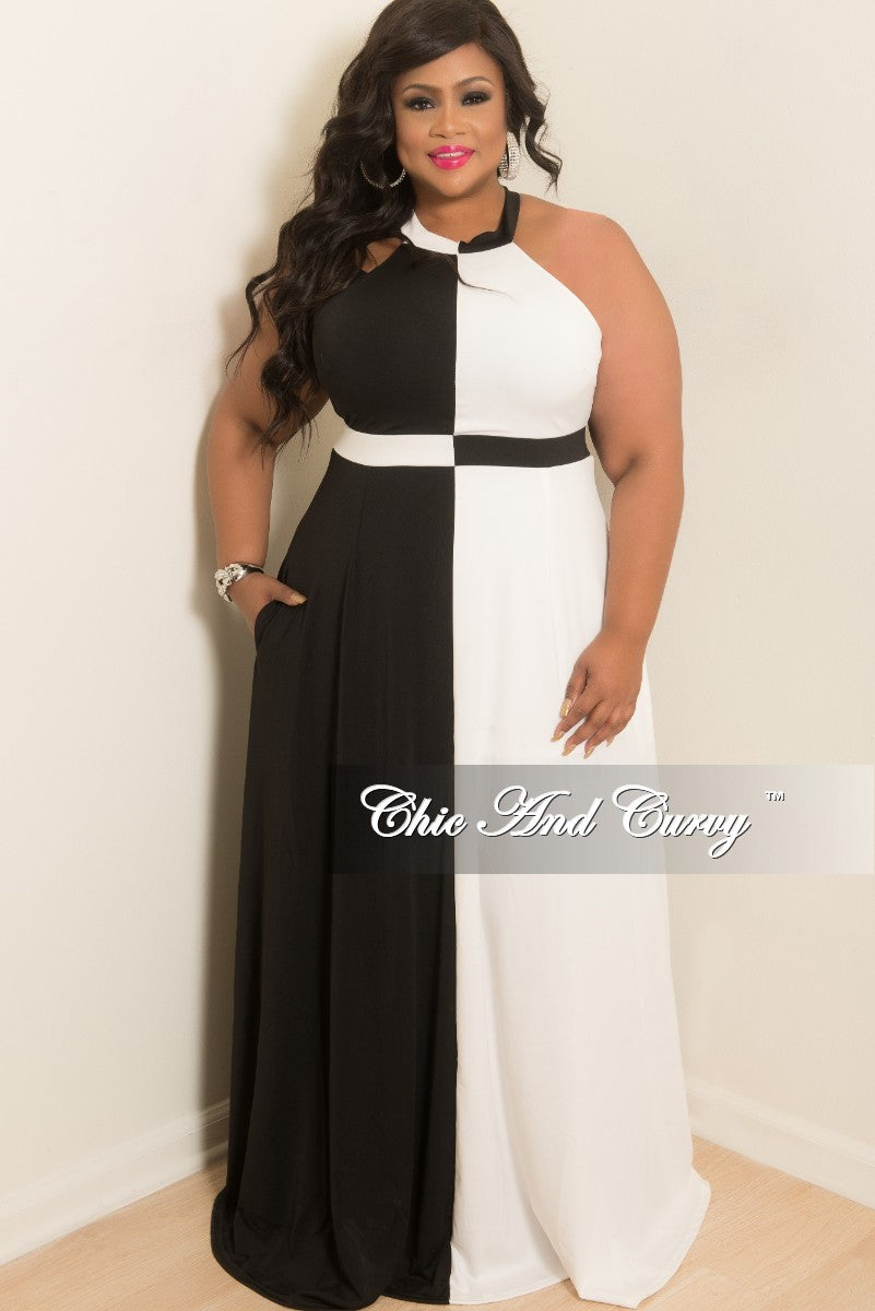 Final Sale Plus Size Sleeveless Long Gown with Pockets and Back Silver Zipper in Black and Off White