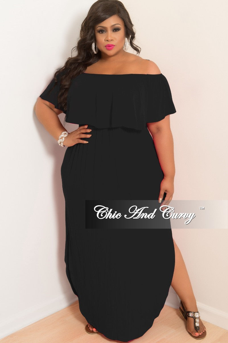 32df9d897b5 Final Sale Plus Size Off the Shoulder Ruffle Long Pocket Dress with Si –  Chic And Curvy