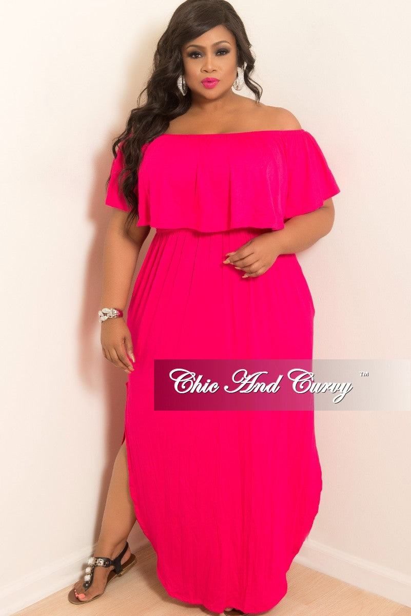 New Plus Size Off the Shoulder Ruffle Long Pocket Dress with Side Slits in Hot Pink
