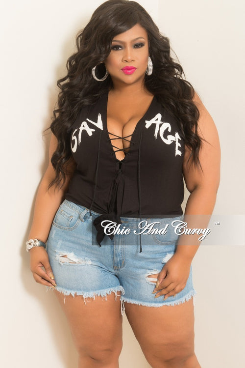 New Plus Size Sleeveless Savage Printed Lace-Up Tie Top in Black and White