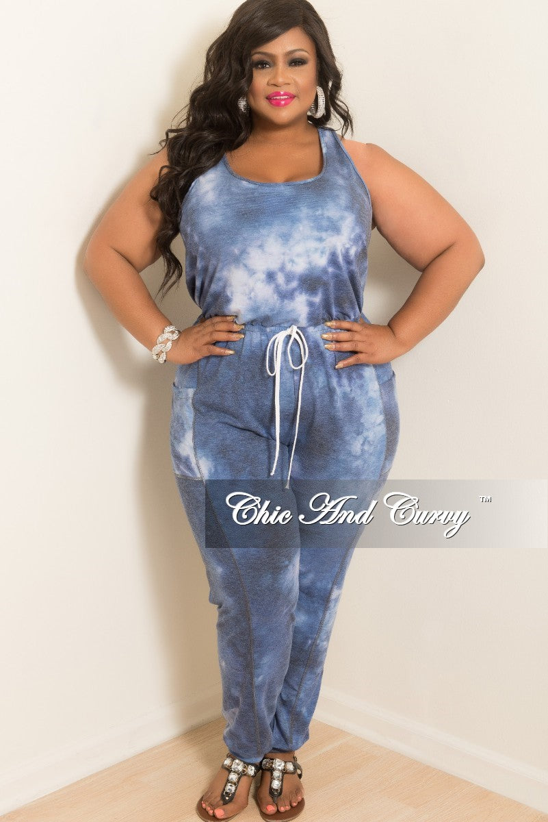 00ee07a3293 New Plus Size Sleeveless Jumpsuit in Navy Tie Dye – Chic And Curvy